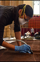 BNPS.co.uk (01202 558833)<br /> Pic: NorfolkMuseum/BNPS<br /> <br /> Museum staff check over the precious flag...<br /> <br /> Staff at Norwich Museum reveal one of the earliest captured French Tricolour's from the Napoleonic Wars -  which was dramatically siezed from the French warship Le G&eacute;n&eacute;reux, on February 18, 1800.<br /> <br /> The huge Ensign of Le G&eacute;n&eacute;reux (it measures 16m x 8.3m &ndash; roughly the size of a tennis-court) is one of the most iconic objects connected to Norfolk&rsquo;s most famous son, Admiral Lord Nelson.<br /> <br /> Evidence suggests that it is, quite possibly, one of the earliest, if not the earliest, Tricolour in existence. The design of the French Tricolour as we know it today &ndash; with the order of colours from left to right running blue, white and red &ndash; was the new flag of the French Republic after the 1794 revolution.<br /> <br /> Ruth Battersby-Tooke, Curator of Costume and Textiles at Norwich Castle, said: &ldquo;The Ensign is remarkable for its survival in such a complete state, the oldest French Ensign in the UK and the one with the most stirring and thrilling history.&rdquo;<br /> <br /> It will form the centrepiece of this summer&rsquo;s Nelson &amp; Norfolk exhibition, at Norwich Castle Museum &amp; Art Gallery, which explores Nelson&rsquo;s relationship with his home county (on view from July 29 to October 1, 2017).<br />  <br /> ***These images are available for editorial purposes only in connection with the exhibition Nelson &amp; Norfolk at Norwich Castle Museum and Art Gallery***