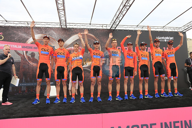 CCC Sprandi Polkowice team at sign on before Stage 2 of the 100th edition of the Giro d'Italia 2017, running 221km from Olbia to Tortoli, Sardinia, Italy. 6th May 2017.<br /> Picture: Eoin Clarke | Cyclefile<br /> <br /> <br /> All photos usage must carry mandatory copyright credit (&copy; Cyclefile | Eoin Clarke)