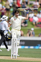 1st December 2019, Hamilton, New Zealand;  Rory Burns scores 100 runs and takes the crowds applause.<br /> International test match cricket, New Zealand versus England at Seddon Park, Hamilton, New Zealand. Sunday 1 December 2019.