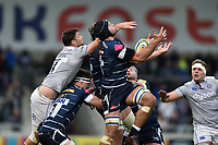 Josh Beaumont of Sale Sharks claims the ball in the air. Aviva Premiership match, between Sale Sharks and Bath Rugby on May 6, 2017 at the AJ Bell Stadium in Manchester, England. Photo by: Patrick Khachfe / Onside Images