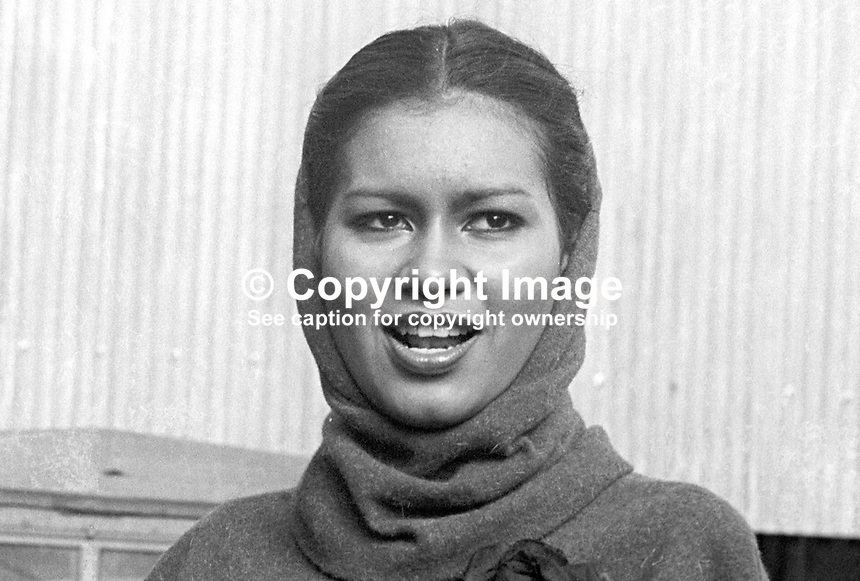 Miss World 1975, Wilnelia Merced, whilst on a visit to British troops serving in N Ireland. Miss Merced, from Puerto Rico, married entertainer and television personality Bruce Forsythe in 1983. 197603260183b<br /> <br /> Copyright Image from Victor Patterson, 54 Dorchester Park, Belfast, UK, BT9 6RJ<br /> <br /> Tel: +44 28 9066 1296<br /> Mob: +44 7802 353836<br /> Voicemail +44 20 8816 7153<br /> Skype: victorpattersonbelfast<br /> Email: victor@victorpatterson.com<br /> Email: victorpatterson@me.com (back-up)<br /> <br /> IMPORTANT: If you wish to use this image or any other of my images please go to www.victorpatterson.com and click on the Terms &amp; Conditions. Then contact me by email or phone with the reference number(s) of the image(s) concerned.