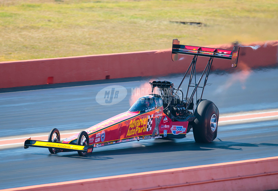 Oct 20, 2019; Ennis, TX, USA; NHRA top fuel driver Brittany Force during the Fall Nationals at the Texas Motorplex. Mandatory Credit: Mark J. Rebilas-USA TODAY Sports