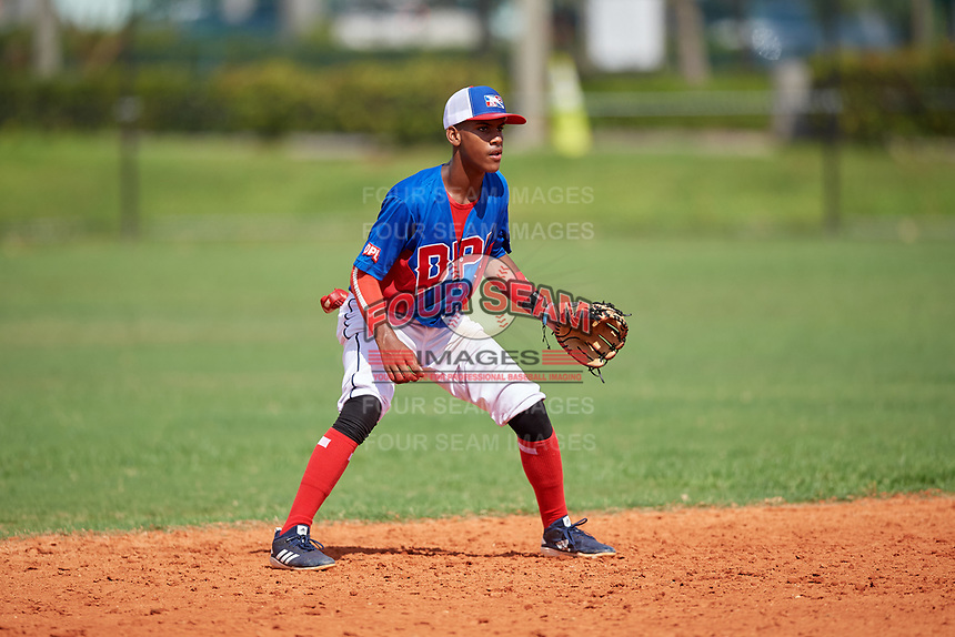 Aniel Mendoza (1) during the Dominican Prospect League Elite Florida Event at Pompano Beach Baseball Park on October 14, 2019 in Pompano beach, Florida.  (Mike Janes/Four Seam Images)
