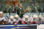 March 15, 2009:  Head Coach Ron Wilson of the Hamilton Bulldgos, AHL affiliate of Montreal Canadians, during overtime of a regular season game at the Blue Cross Arena in Rochester, NY.  Hamilton defeated Rochester 4-3 in a shoot out.  Photo Copyright Mike Janes Photography 2009