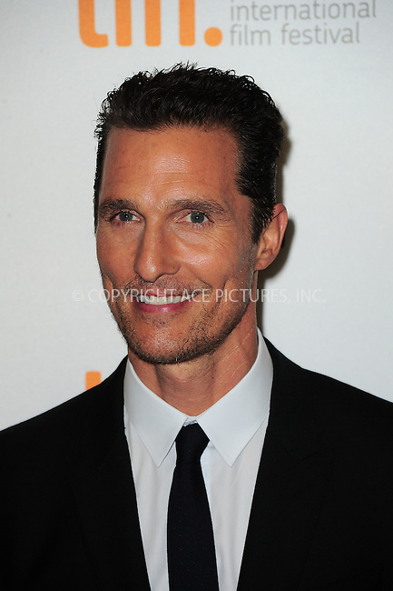 WWW.ACEPIXS.COM<br /> <br /> September 7 2013, Toronto<br /> <br /> Matthew McConaughey arriving at the 'Dallas Buyers Club' premiere during the 2013 Toronto International Film Festival at Princess of Wales Theatre on September 7, 2013 in Toronto, Canada.<br /> <br /> By Line: William Bernard/ACE Pictures<br /> <br /> <br /> ACE Pictures, Inc.<br /> tel: 646 769 0430<br /> Email: info@acepixs.com<br /> www.acepixs.com