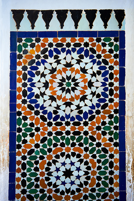 Zellige Tile decorative panels.The Petite Court, Bahia Palace, Marrakesh, Morroco