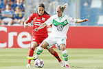 VfL Wolfsburg's Anna Blasse (r) and Olympique Lyonnais' Amel Majri during UEFA Women's Champions League 2015/2016 Final match.May 26,2016. (ALTERPHOTOS/Acero)