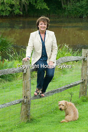 Rosa Monckton friend of the late Diana the Princess of Wales at home. Dallington,  East Sussex. England 2007 + family dog.