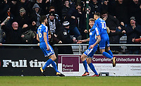Notts County's Jonathan Stead, centre, celebrates scoring the opening goal with team-mates Shaun Brisley, left, and Jorge Grant<br /> <br /> Photographer Chris Vaughan/CameraSport<br /> <br /> The EFL Sky Bet League Two - Lincoln City v Notts County - Saturday 13th January 2018 - Sincil Bank - Lincoln<br /> <br /> World Copyright &copy; 2018 CameraSport. All rights reserved. 43 Linden Ave. Countesthorpe. Leicester. England. LE8 5PG - Tel: +44 (0) 116 277 4147 - admin@camerasport.com - www.camerasport.com