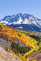 One of the many peaks of the San Juan mountains to be seen along the road from Durango to Silverton Colorado.  Autumn is an amazing time for this drive.
