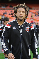 Washington, D.C.- March 29, 2014. Nick DeLeon (14) of D.C. United.  D.C. United defeated the New England Revolution 2-0 during a Major League Soccer Match for the 2014 season at RFK Stadium.