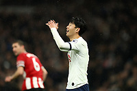 9th November 2019; Tottenham Hotspur Stadium, London, England; English Premier League Football, Tottenham Hotspur versus Sheffield United; A dejected Son Heung-Min of Tottenham Hotspur as the referee does not award a penalty - Strictly Editorial Use Only. No use with unauthorized audio, video, data, fixture lists, club/league logos or 'live' services. Online in-match use limited to 120 images, no video emulation. No use in betting, games or single club/league/player publications