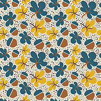 """Oak In Autumn"" is a hand illustrated scalable vector surface pattern inspired by forest floor under a Oak tree during fall/autumn.<br />
