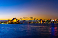 Twilight view of the Sydney harbor(Sydney Opera House and Sydney Harbour Bridge), Sydney, New South Wales, Australia