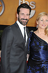 LOS ANGELES, CA. - January 23: Jon Hamm and Jennifer Westfeldt  arrive at the 16th Annual Screen Actors Guild Awards held at The Shrine Auditorium on January 23, 2010 in Los Angeles, California.