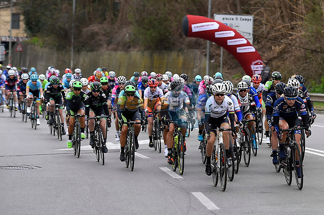 The start of the 2017 Strade Bianche Women Elite race running 127km from Siena to Siena, Tuscany, Italy 4th March 2017.<br /> Picture: LaPresse/Fabio Ferrari | Newsfile<br /> <br /> <br /> All photos usage must carry mandatory copyright credit (&copy; Newsfile | LaPresse/Fabio Ferrari)