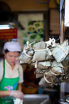 Sticky rice in bundles for sale in Bangkok's Chinatown.