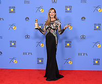 After winning the category of BEST PERFORMANCE BY AN ACTRESS IN A SUPPORTING ROLE IN A MOTION PICTURE for her work in &quot;I, Tonya,&quot; actress Allison Janney poses backstage in the press room with her Golden Globe Award at the 75th Annual Golden Globe Awards at the Beverly Hilton in Beverly Hills, CA on Sunday, January 7, 2018.<br /> *Editorial Use Only*<br /> CAP/PLF/HFPA<br /> &copy;HFPA/PLF/Capital Pictures