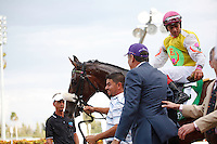 Grace Hall, connections and jockey Javier Castellano after winning the Gulfstream Oaks (G2). Gulfstream Park Hallandale Beach Florida. 03-31-2012. Arron Haggart / Eclipse Sportswire