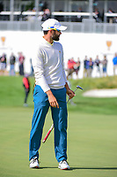 Adam Hadwin (CAN) barely misses his putt on 14 during round 3 Foursomes of the 2017 President's Cup, Liberty National Golf Club, Jersey City, New Jersey, USA. 9/30/2017.<br /> Picture: Golffile | Ken Murray<br /> <br /> All photo usage must carry mandatory copyright credit (&copy; Golffile | Ken Murray)