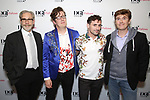 Michael Korie, Jeremy J. King, Sam Salmond and Laurence O'Keefe attend the reception for the 2018 Presentation of New Works by the DGF Fellows on October 15, 2018 at the Playwrights Horizons Theatre in New York City.