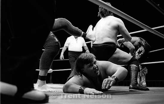 Wrestling action at Luche Libre pro-wrestling.<br />