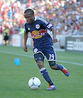 New York midfielder Dane Richards (19) dribbles toward the Chicago goal.  The Chicago Fire defeated the New York Red Bulls 3-1 at Toyota Park in Bridgeview, IL on June 17, 2012.