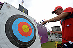LONDON, ENGLAND - JULY 27: Brady Ellison of the USA checks out his target during the Men's Individual Archery Ranking Round on Olympics Opening Day as part of the London 2012 Olympic Games at the Lord's Cricket Ground on July 27, 2012 in London, England. (Photo by Donald Miralle)