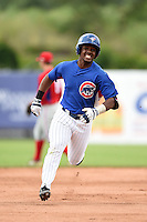 Jade Williams-Salmon (8) of David Suzuki Secondary School in Brampton, Ontario playing for the Chicago Cubs scout team during the East Coast Pro Showcase on August 2, 2014 at NBT Bank Stadium in Syracuse, New York.  (Mike Janes/Four Seam Images)