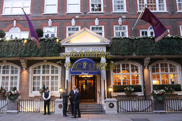 ATMOPHERE.The Goring Hotel, where the Catherine Middleton will be staying with her family on the eve of her wedding to Prince William, London, England, .April 27th 2011..GV general view G.V. kate royal exterior  princess marriage .CAP/AH.©Adam Houghton/Capital Pictures.