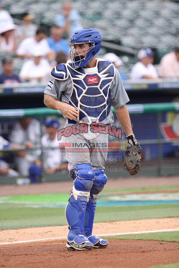 Charlie Cuttler of Team Israel looks at the umpire during a game against Team Spain during the World Baseball Classic preliminary round at Roger Dean Stadium on September 21, 2012 in Jupiter, Florida. Team Israel defeated Team Spain 4-2. (Stacy Jo Grant/Four Seam Images)
