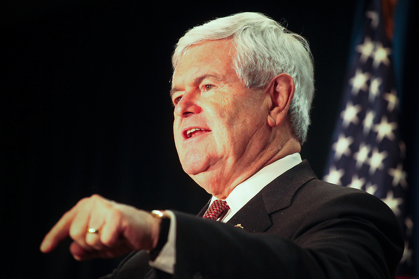 Republican presidential candidate, former House Speaker Newt Gingrich (R) speaks during a campaign stop in the conference room at the Best Western Plus in Couer d'Alene, Idaho on Thursday, February 23.