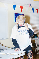 """Wearing a """"Women For Trump"""" shirt, Blanca Vrotsos, 62, of Doral, Florida, has been volunteering almost everyday for 10 months at the Donald Trump campaign office in Hialeah, Miami, Florida, on Sun., Oct. 9, 2016. She helps recruit volunteers, register people to vote, and train other volunteers. Originally from Cuba, she has been a US citizen for 15 years and says she is """"extremely Republican."""" She first voted in 2000 and voted for George W. Bush. She says she will always support the Republican nominee for president."""