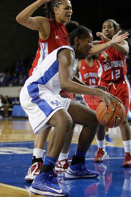 UK center DeNesha Stallworth (11) goes for a lay-up during the second half of the UK Hoops game v. Delaware State University at Memorial Coliseum in Lexington, Ky., on Saturday, November 10, 2012. Photo by Genevieve Adams | Staff