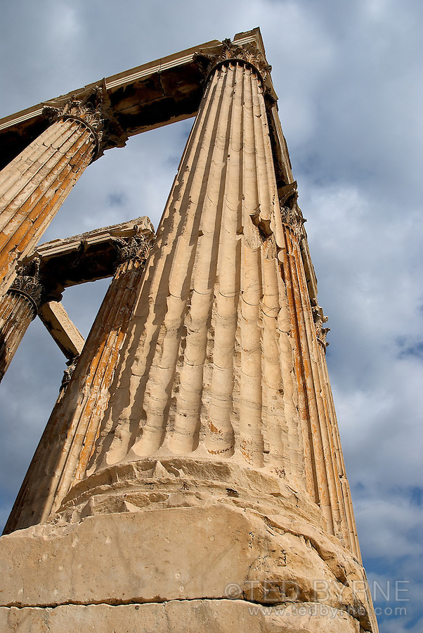 Corner column at the Temple of Zeus in Athens Greece