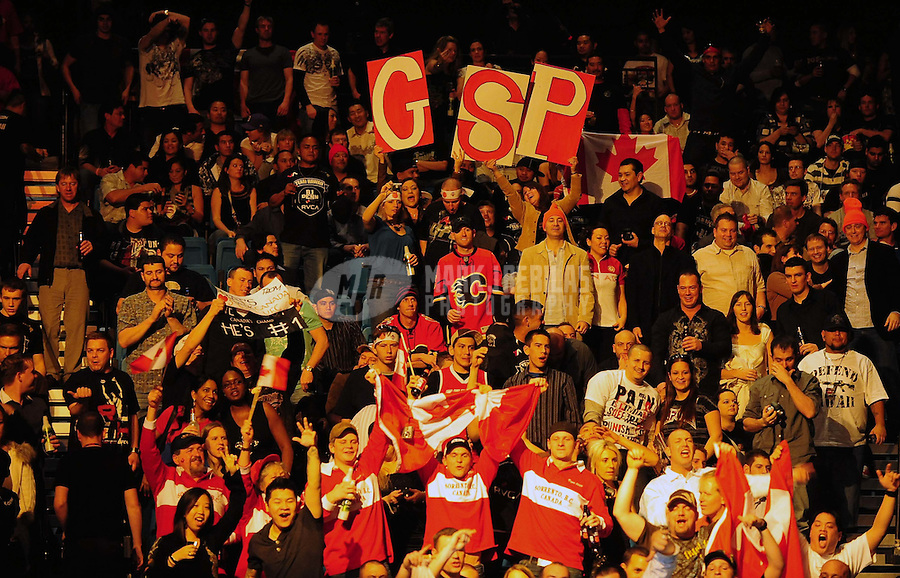 Jan. 31, 2009; Las Vegas, NV, USA; UFC fans cheer prior to the bout between B.J. Penn and Georges St-Pierre during the welterweight championship in UFC 94 at the MGM Grand Hotel and Casino. St-Pierre defeated Penn with a fourth round TKO. Mandatory Credit: Mark J. Rebilas-