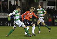 Joe Pigott of Luton Town turns whilst under pressure during the Sky Bet League 2 match between Luton Town and Yeovil Town at Kenilworth Road, Luton, England on 2 February 2016. Photo by Liam Smith.