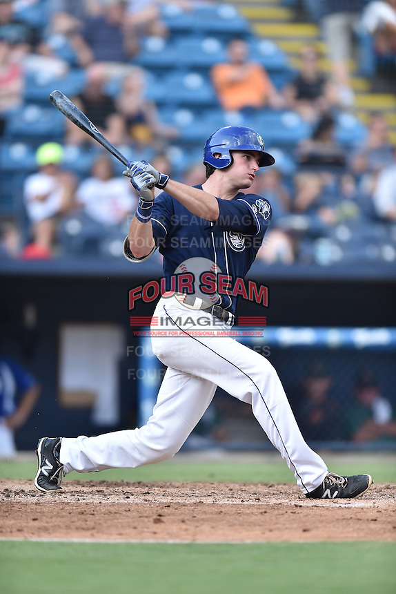 Asheville Tourists left fielder Sam Hilliard (25) swings at a pitch during a game against the Augusta GreenJackets at McCormick Field on August 6, 2016 in Asheville, North Carolina. The GreenJackets defeated the Tourists 11-4. (Tony Farlow/Four Seam Images)