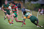 Willie Heperi skips past his opposite number Siomne Bolea as he cuts back in field for Waiuku. Counties Manukau Premier Club Rugby game between Pukekohe and Waiuku, played at Colin Lawrie Field, Pukekohe, on Saturday May 03 2014. Pukekohe won the game 28 - 10 afterleading 21 - 10 at halftime  Photo by Richard Spranger