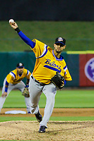 Biloxi Shuckers pitcher Jorge Lopez (28) during a Southern League game against the Tennessee Smokies on May 25, 2017 at Smokies Stadium in Kodak, Tennessee.  Tennessee defeated Biloxi 10-4. (Brad Krause/Krause Sports Photography)