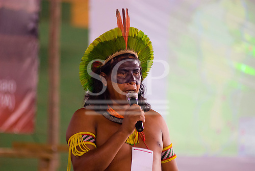 Altamira, Brazil. Encontro Xingu protest meeting about the proposed Belo Monte hydroeletric dam and other dams on the Xingu river and its tributaries. Kayapo translator.