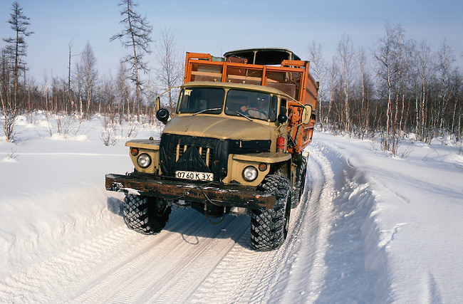 Truck on a winter road near Surinda in Evenkiya. Central Siberia. Russia.
