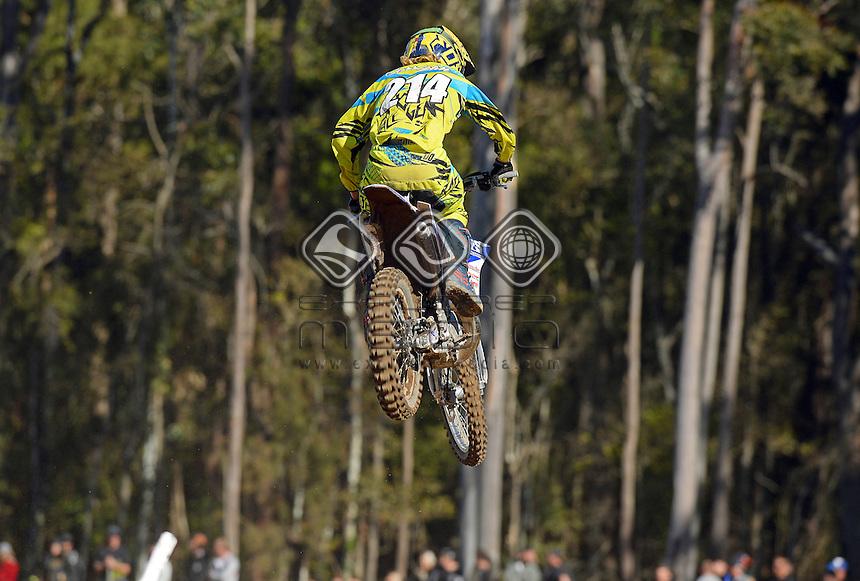 Jaiden Corrigan / Yamaha<br /> MX Nationals / Round 6 / MXD<br /> Australian Motocross Championships<br /> Raymond Terrace NSW<br /> Sunday 5 July 2015<br /> &copy; Sport the library / Jeff Crow