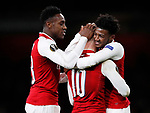 Arsenal's Jack Wilshere celebrates scoring his sides third goal with Danny Welbeck and Ainsley Maitland-Niles during the Europa League Group H match at The Emirates Stadium, London. Picture date: December 7th 2017. Picture credit should read: David Klein/Sportimage