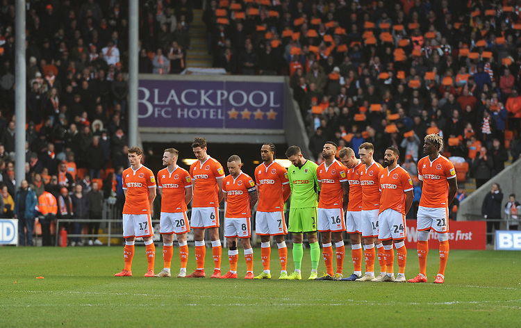 Blackpool players observe a minutes silence before kick-off<br /> <br /> Photographer Kevin Barnes/CameraSport<br /> <br /> The EFL Sky Bet League One - Blackpool v Southend United - Saturday 9th March 2019 - Bloomfield Road - Blackpool<br /> <br /> World Copyright © 2019 CameraSport. All rights reserved. 43 Linden Ave. Countesthorpe. Leicester. England. LE8 5PG - Tel: +44 (0) 116 277 4147 - admin@camerasport.com - www.camerasport.com