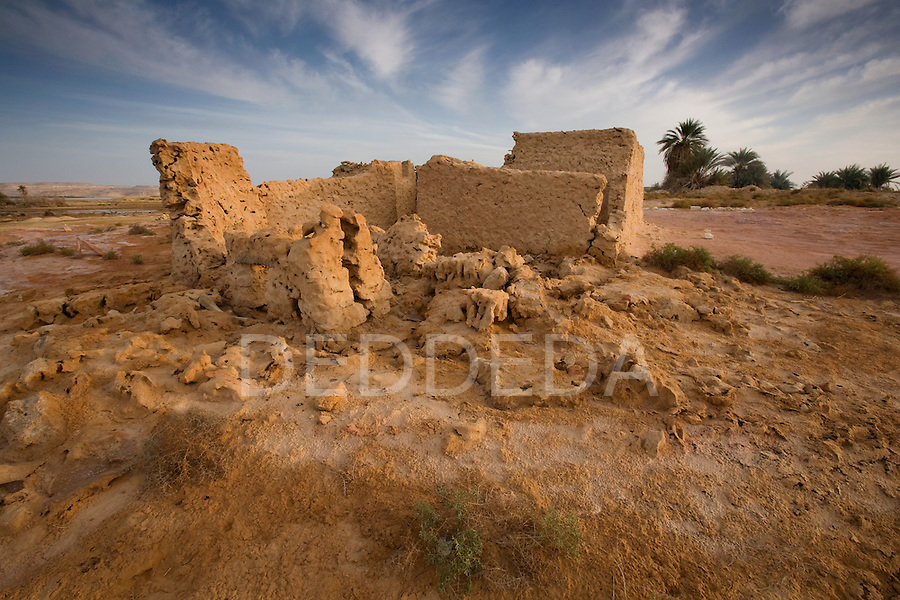 An abandoned mudbrick building on the outskirts of Siwa Town in the Siwa Oasis, Egypt.