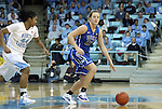 26 February 2012: Duke's Tricia Liston (32) and North Carolina's Tierra Ruffin-Pratt (44). The Duke University Blue Devils defeated the University of North Carolina Tar Heels 69-63 at Carmichael Arena in Chapel Hill, North Carolina in an NCAA Division I Women's basketball game.
