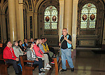 VMI Vincentian Heritage Tour: The Rev. Edward Udovic, C.M., leads members of the Vincentian Mission Institute through the chapel at the Motherhouse of the Congregation of the Mission in Paris Tuesday, June 21, 2016. The remains of St. Vincent de Paul are on display at the historic site.  (DePaul University/Jamie Moncrief)