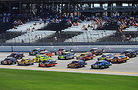 Apr 24, 2009; Talladega, AL, USA; NASCAR Sprint Cup Series drivers race through thr tri-oval during practice for the Aarons 499 at Talladega Superspeedway. Mandatory Credit: Mark J. Rebilas-