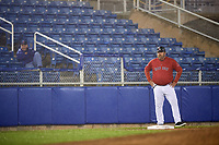 Salem Red Sox manager Joe Oliver (50) coaching third base during the second game of a doubleheader against the Potomac Nationals on June 11, 2018 at Haley Toyota Field in Salem, Virginia.  Potomac defeated Salem 4-0.  (Mike Janes/Four Seam Images)